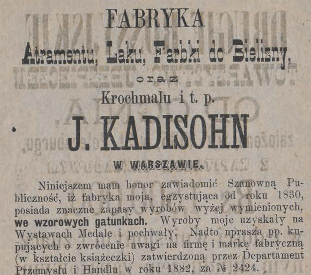 Fabryka atramentu,laku farbki J. Kadisohn