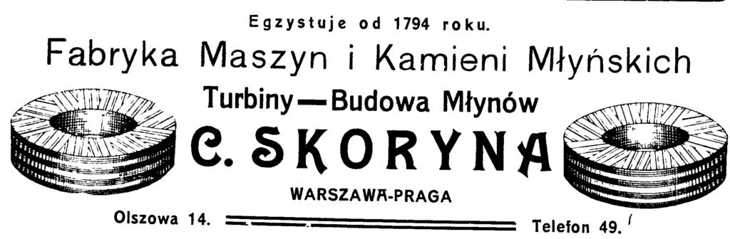 Fabryka maszyn i kamieni młynskich C Skoryna