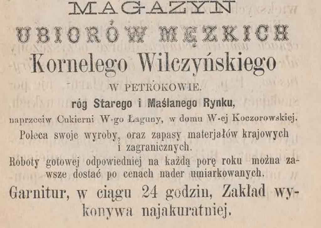 Magazyn ubiorów męskich Kornel Wilczyński
