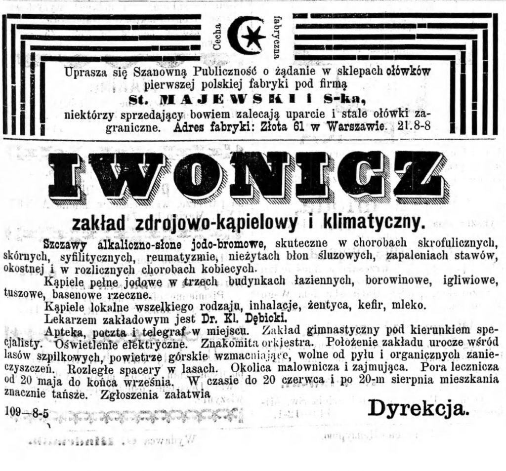Reklama zakładu zdrojowego Gazeta Kaliska 1893