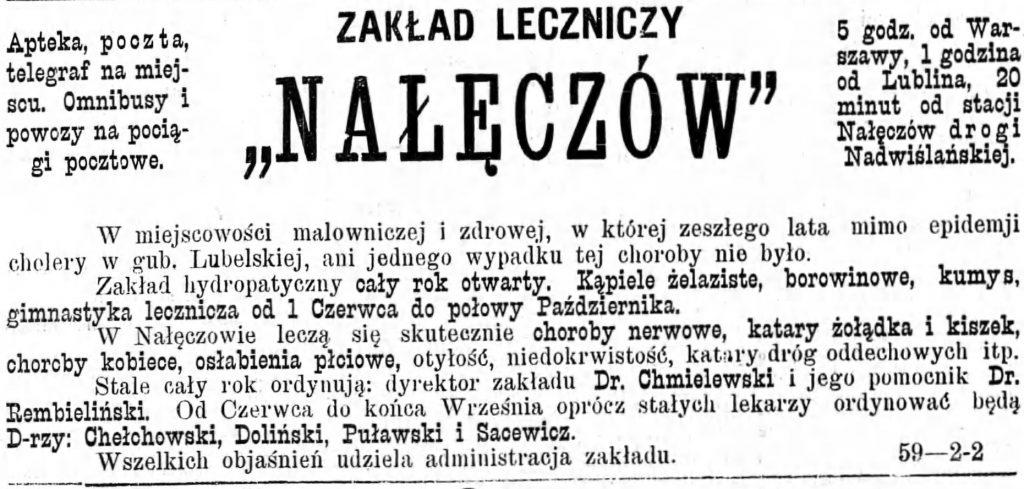 Reklama zakładu leczniczego Gazeta Kaliska 1893
