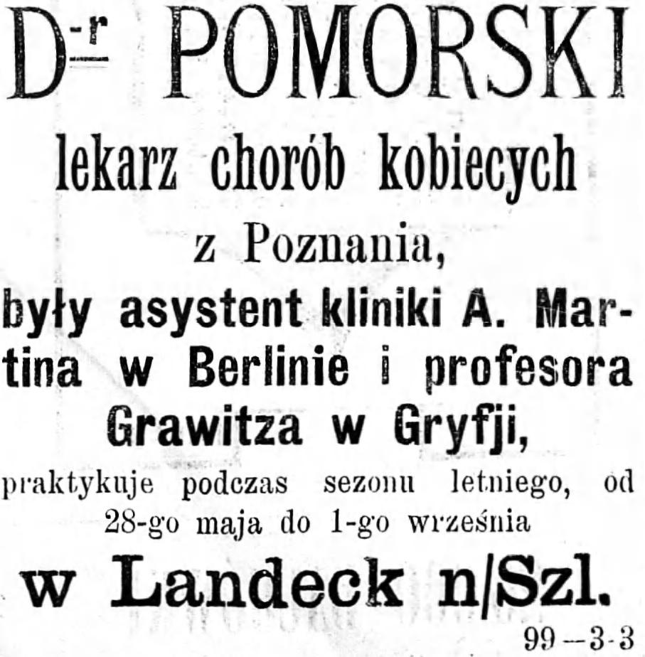Reklama lekarza Gazeta Kaliska 1893