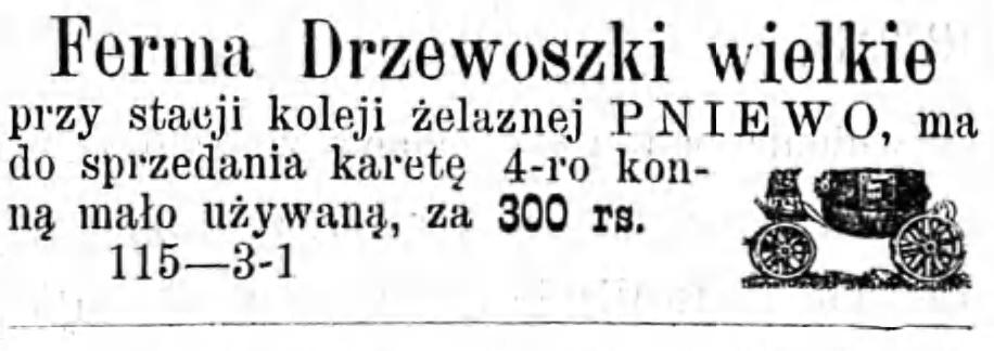 Reklama sprzedaży karety Gazeta Kaliska 1893