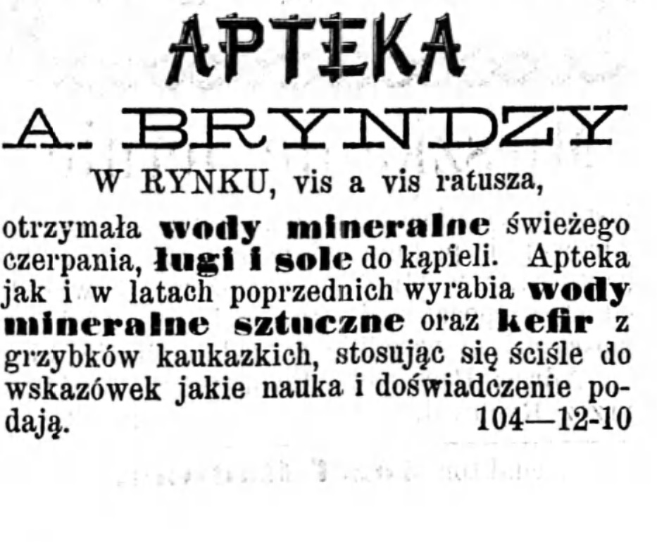 Reklama apteki Gazeta Kaliska 1893