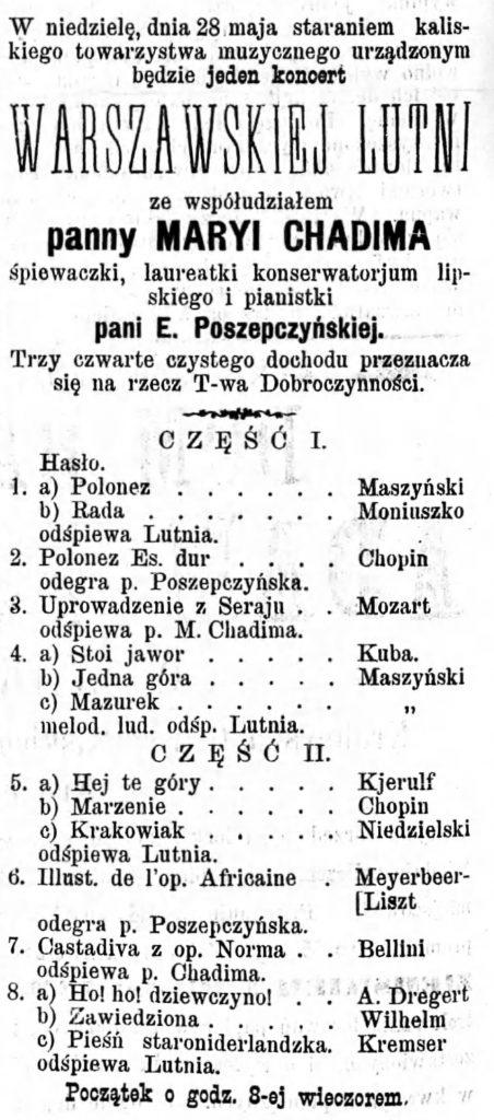 Program koncertu Gazeta Kaliska 1893