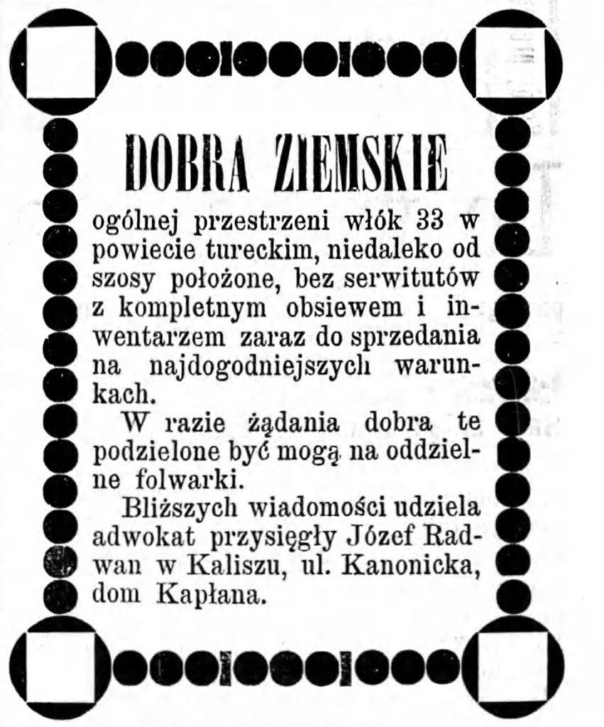 Reklama sprzedaży ziemi Gazeta Kaliska 1893