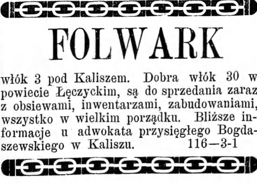 Reklama - sprzedaż Folwarku Gazeta Kaliska 1893