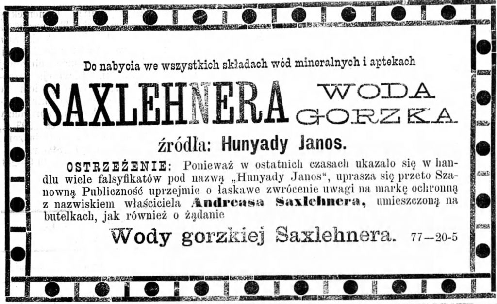 Reklama - sprzedaż wody Gazeta Kaliska 1893