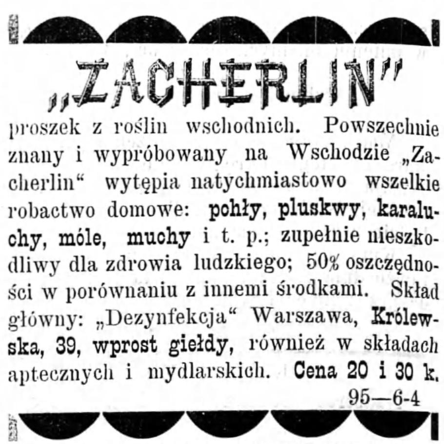 Reklama - sprzedaż proszku z roślin Gazeta Kaliska 1893