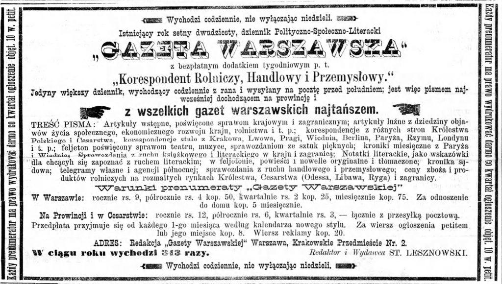 Reklama Gazety Warszawskiej 1893