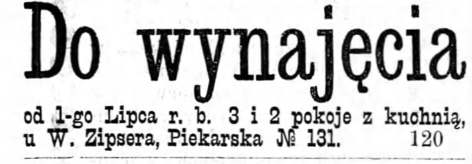 Reklama wynajem Gazeta Kaliska 1893