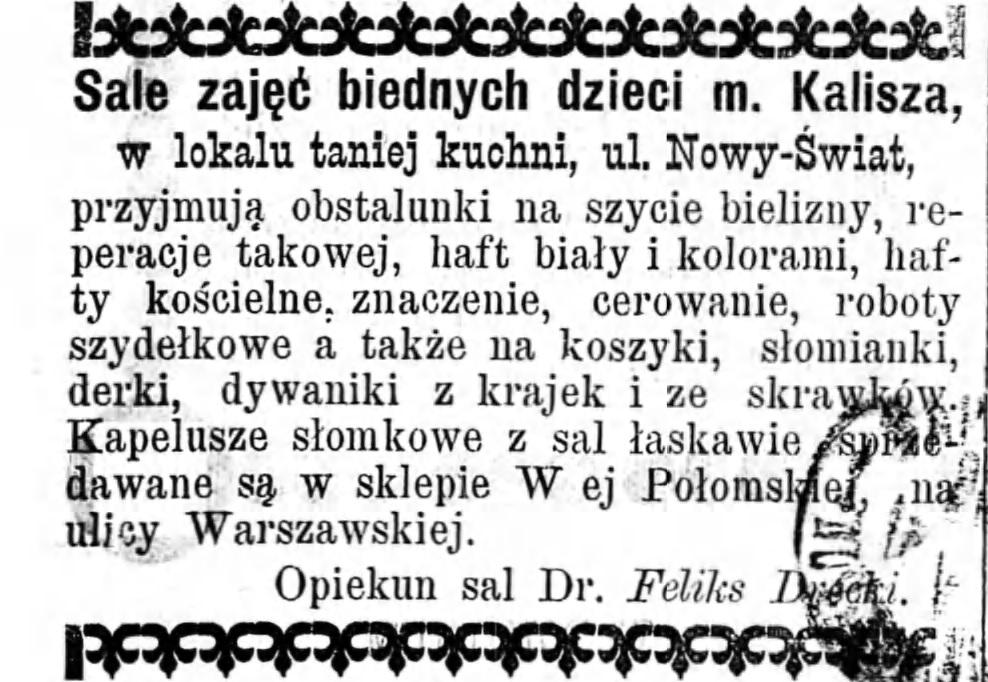 Reklama zajęć dla dzieci Gazeta Kaliska 1893