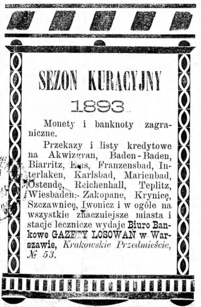 Reklama kantoru Gazeta Kaliska 1893