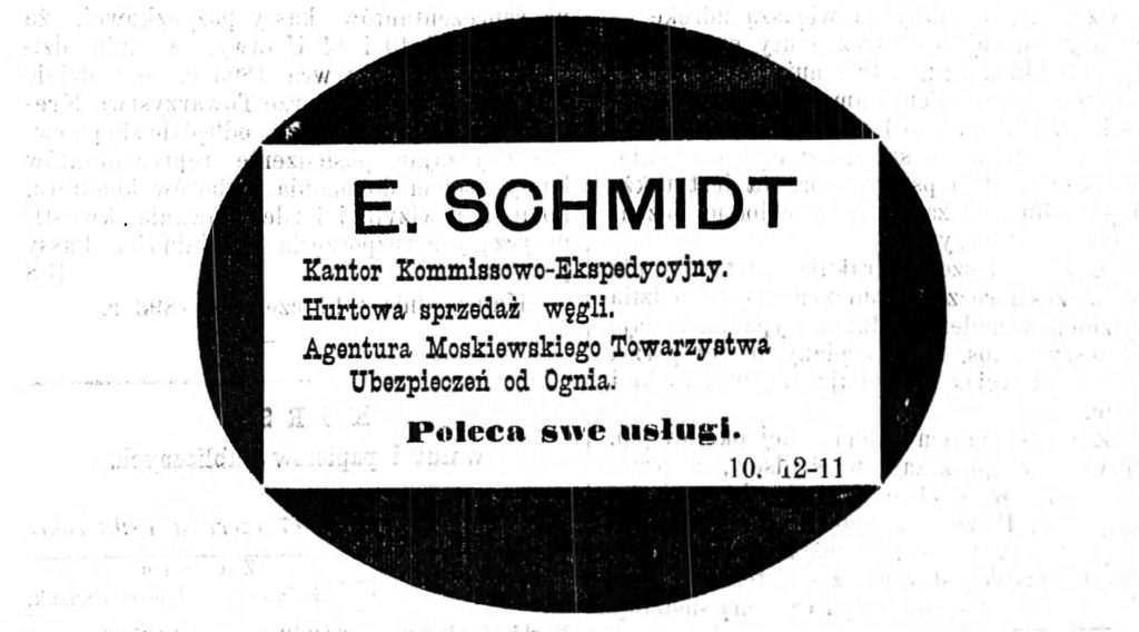 Reklama kantoru, składu i agenta Gazeta Kaliska 1893
