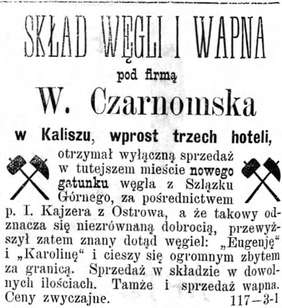 Reklama skład węgla Gazeta Kaliska 1893