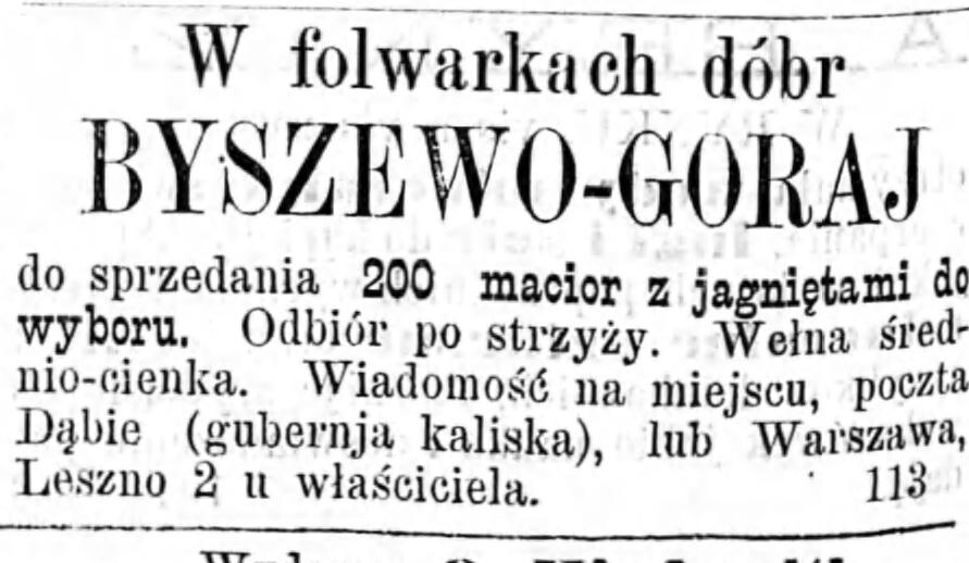 Reklama sprzedaży świń Gazeta Kaliska 1893
