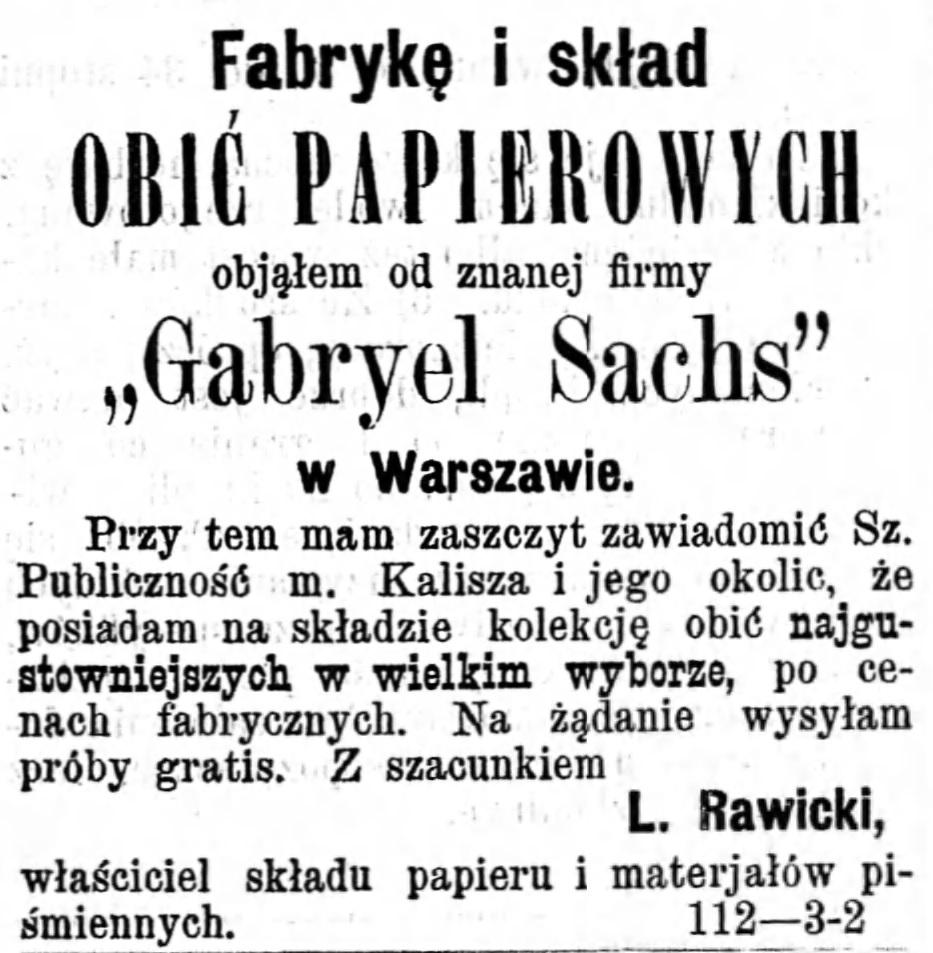 Reklama fabryka i skład Gazeta Kaliska 1893