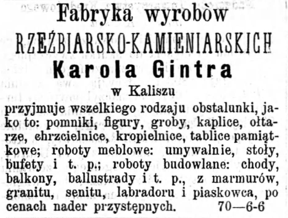 Reklama zakładu kamieniarskiego Gazeta Kaliska 1893