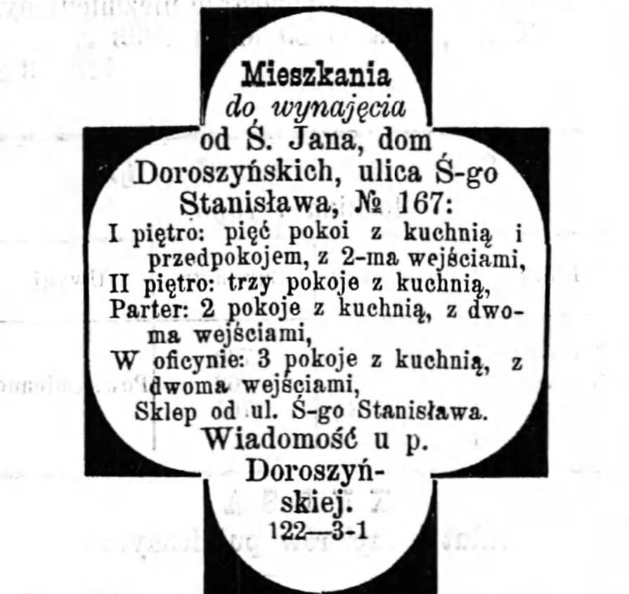Reklama wynajmu mieszkania Gazeta Kaliska 1893