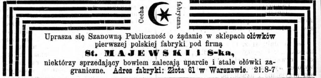 Reklama fabryki ołówków Gazeta Kaliska 1893