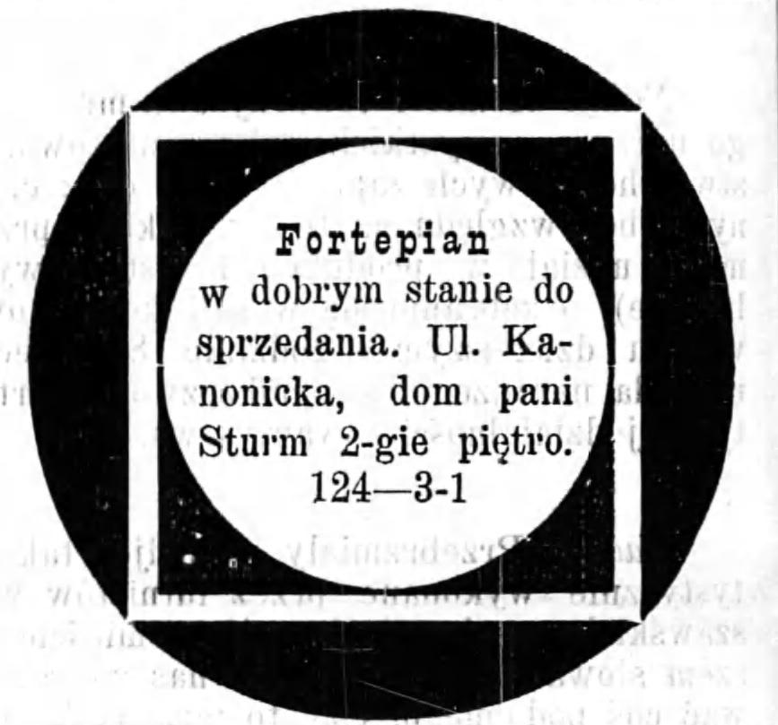 Reklama sprzedaży fortepianu Gazeta Kaliska 1893