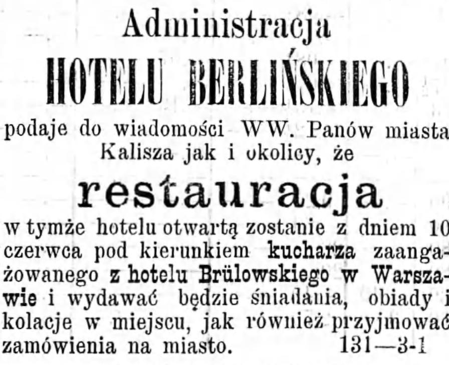 Reklama restauracji Gazeta Kaliska 1893