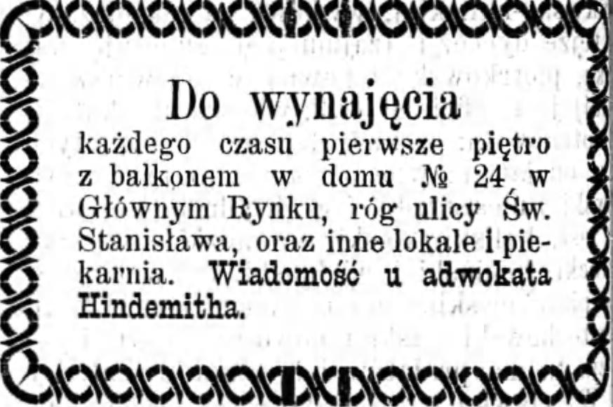 Reklama wynajmu Gazeta Kaliskia 1893