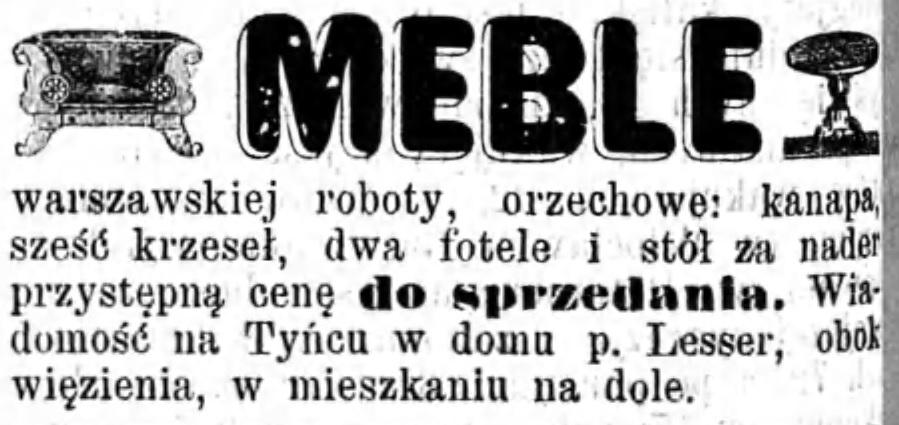 Reklama sprzedaży mebli Gazeta Kaliska 1893