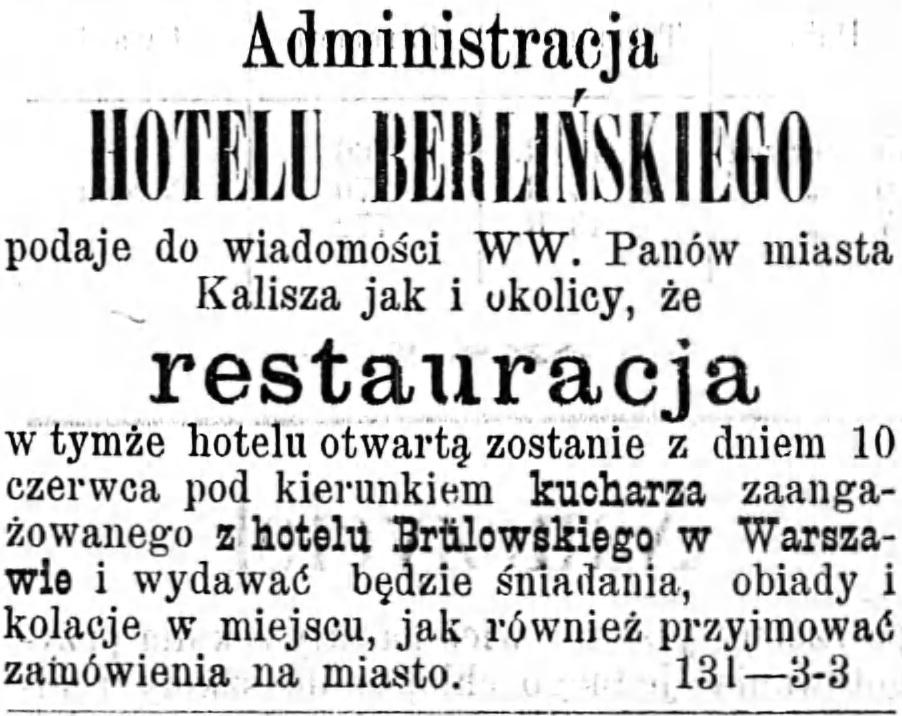 Reklama hotelu Gazeta Kaliska 1893