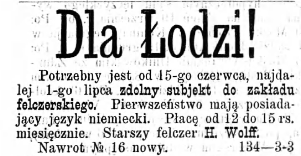 Reklama szukam pracownika Gazeta Kaliska 1893