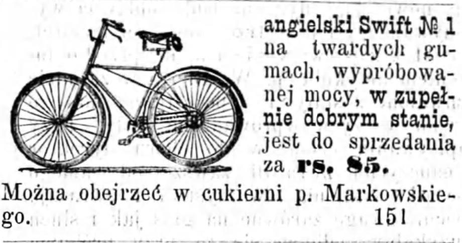 Reklama sprzedam rower Gazeta Kaliska 1893