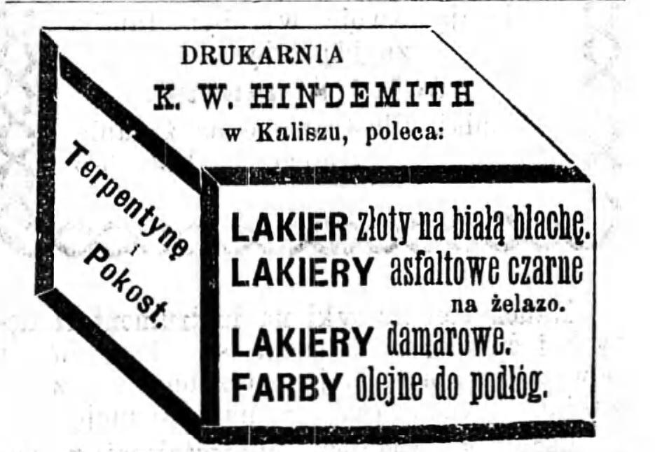 Reklama drukarni Gazeta Kaliska 1893