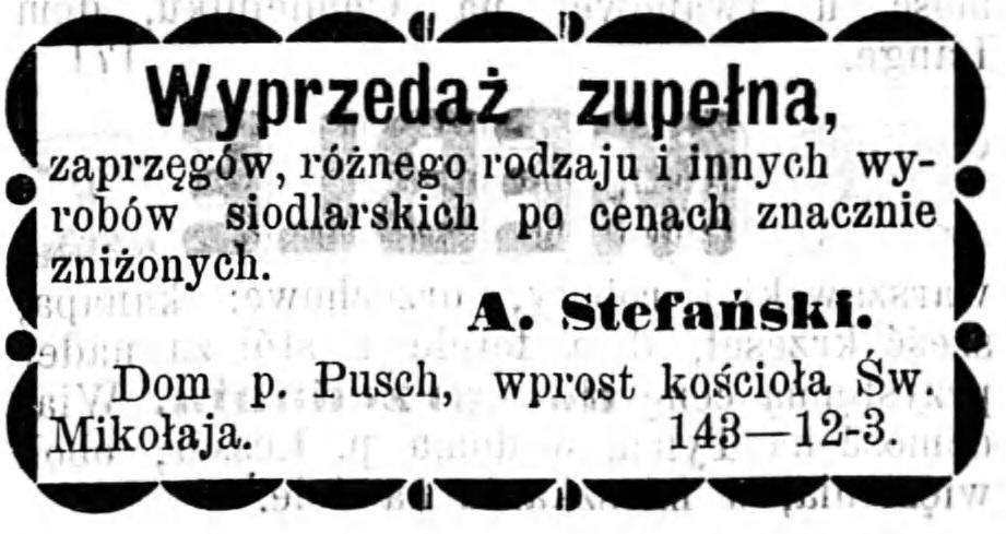 Reklama sprzedaży zaprzęgów Gazeta Kaliska 1893