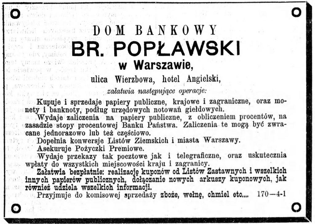 Reklama domu bankowego Gazeta Kaliska 1893