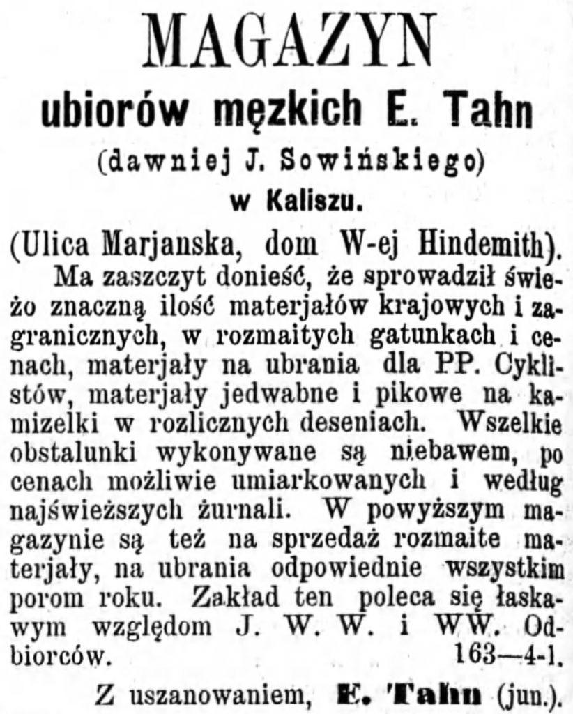Reklama magazynu Gazeta Kaliska 1893