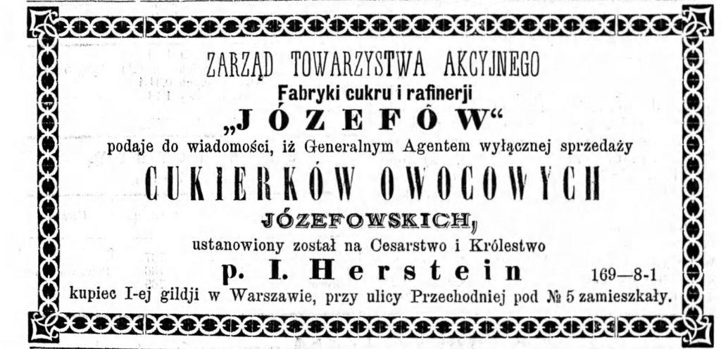 Reklama fabryki Gazeta Kaliska 1893