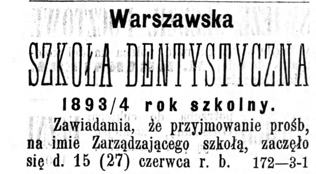 Reklama szkoły dentystycznej Gazeta Kaliska 1893